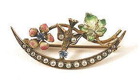 Delicate Enamel Brooch, Bird & Flowers
