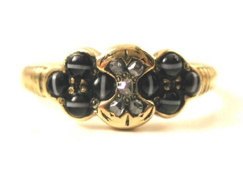 Victorian Banded Agate & Diamond Ring