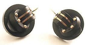 Perfect 19th C Gutta Percha & 14k Earrings