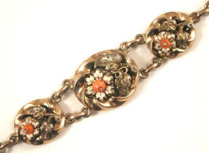 Lovely Antique Bracelet, Enamel Flowers