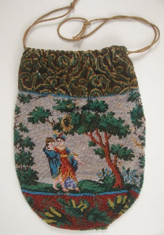 Wonderful Antique Figural Beaded Purse, Lovers, 1830