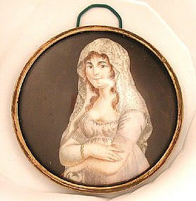 Charming French School Portrait Miniature, Lady, 1820