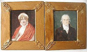 Pair of English Provincial Portrait Miniatures, 1820