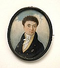 Portrait Miniature of Curly-Haired Gent, by Krall, 1818