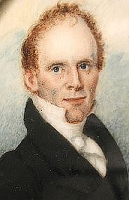American Portrait Miniature of John Bixby, ca 1820's
