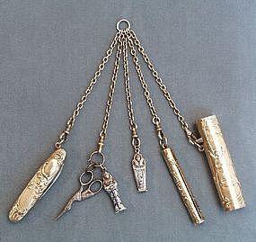 Wonderful 19th Century Gilt Metal Chatelaine