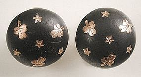 Vintage Silver Cufflinks, Gold Pique Clovers and Stars