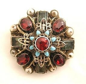 Vivid 19th C Austro-Hungarian Gem-Set Brooch