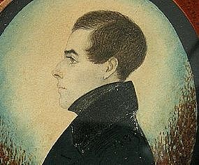 Portrait Miniature of Nathan Burnham by J. H. Gillespie