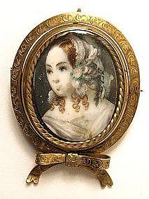 Charming 19th C Portrait Miniature Swivel Brooch