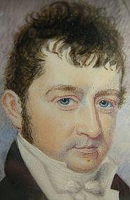 Early 19th C Portrait Miniature, Gent, Pendant Frame