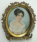 English School Portrait Miniature, Lady w/ Collar