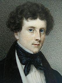 Fine Portrait Miniature of William C. Dobbs, ca 1840
