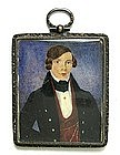 19th C Folk Art Portrait Miniature of Gent