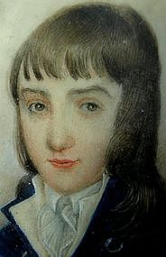 Portrait Miniature of Young Boy, c 1790, Shagreen Case