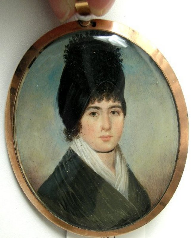 Portrait Miniature in Oil of Lady, Circle of Leakey