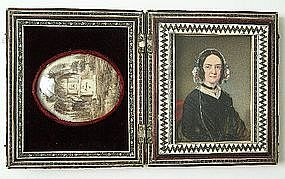 Portrait Miniature of Lady, in Box, w/ Hair Memorial