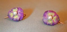 Art Nouveau Enamel Pansy Earrings