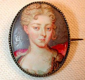 Portrait Miniature in Enamel, French, ca 1720