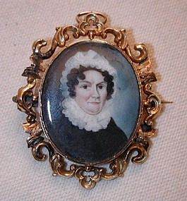 Portrait Miniature on Ivory, 15K Gold Brooch