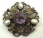 Sweet 19th C Austro Hungarian Brooch, Pearls,  Amethyst