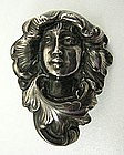 Lovely Sterling Art Nouveau Chatelaine Clip, Lady