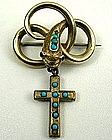 Fabulous Victorian Brooch, Snake and Cross