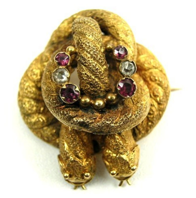 Fabulous Victorian Gold and Gem Set Double Snake Brooch