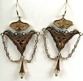 Classic Gold Victorian Articulated Earrings