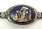 Charming Antique Enamel and Silver Choker, Naive Scene