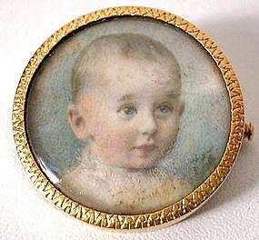 Edwardian Portrait Brooch of Sweet Baby