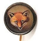 Beautiful Victorian Enamel Fox Head Stickpin