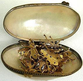19th C Mother of Pearl Box with Cut Steel Flies