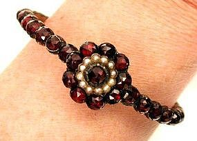 Victorian Garnet and Pearl Bracelet, Ca 1870