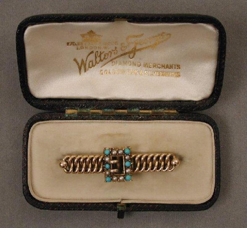 Victorian Turquoise & Pearl Brooch 1890, 14K