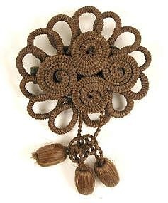 19th C Hair Brooch; Flower with Drops