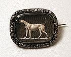Unusual Victorian Sentimental Brooch, Greyhound, Hair