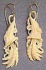 Victorian Ivory Earrings, Cornucopias