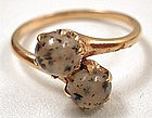 Antique Moss Agate Ring, 14K
