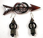 Super Victorian Horn Pin and Earring Set, Arrows