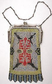Superb Whiting and Davis Mesh Purse, Chinese Motif