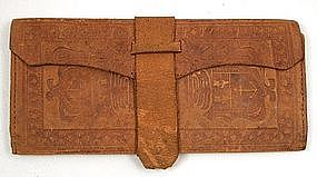 Antique Leather Gent�s Folding Wallet, Anchor, Lyre