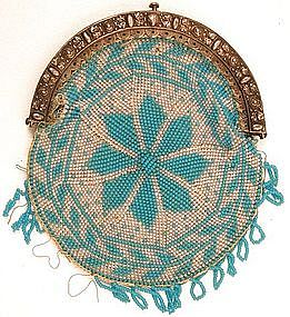 Finely Beaded Pie Crust Coin Purse, 19th C