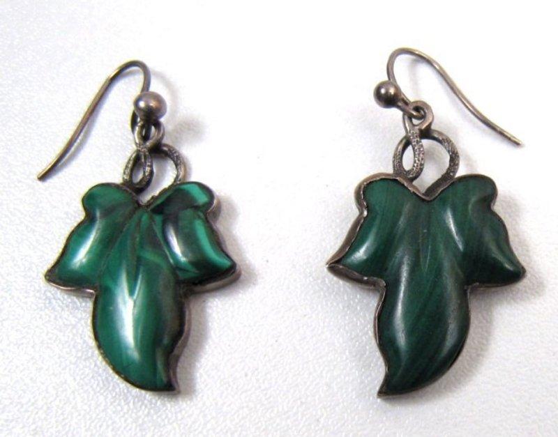Victorian Malachite Leaf Earrings, Set in Silver.