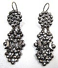 Fabulous 19th C Cut Steel Pendant Earrings