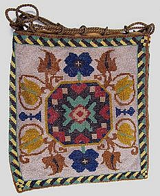 Antique Beaded Purse, Oriental Rug Pattern