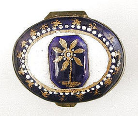 Blue Enamel Patch Box, Wednesbury, Early 19th C