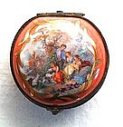 Charming Antique Porcelain Box Pastoral Scene