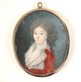 Portrait Miniature, Mourning w/Hair, ca 1785