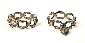Pair of Silver 17th C Norwegian Link Rings